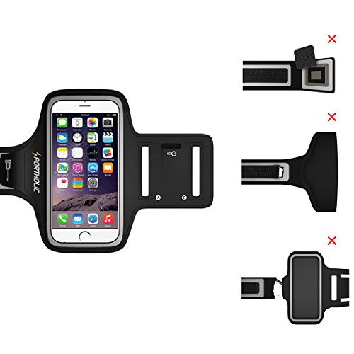 Sports Armband for iPhone 7 Plus 6s Plus 6 Plus, Portholic-LIFE WARRANTY-For LG G5, Note 3/4/5 with case(fits with Otterbox Defender&Lifeproof case)with Key&Cards Holder, Cable Locker(BLACK,6.0-Inch)