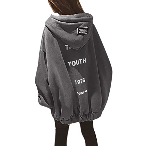 Tantisy ♣↭♣ Women's Autumn Winter Oversize Baggy Sweatshirt Long Sleeve Zipper Thicken Plus Velvet Coat Youth Hoodie Gray