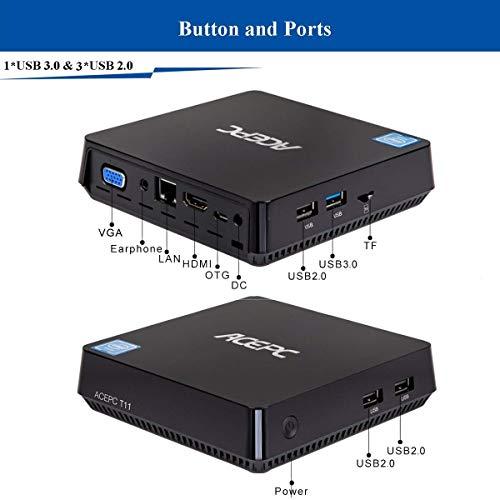 Mini PC Windows 10 Pro Procesador Intel Atom x5-Z8350 4GB Ram 32GB EMMC Soporte SATA SSD de 2,5 Pulgadas/HDMI y...