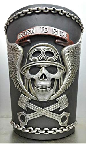 Richman789 Wastebasket Trash Can Decorative Decor Biker Motorcycle Skull Gift