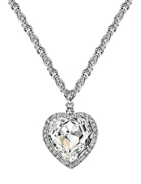Neoglory Jewelry Fashion Made with Swarovski Elements Crystal Charm Ocean Titanic Heart Pendant Necklace 21.26 inches