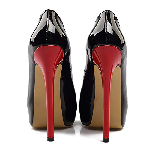 forme Poisson Femmes Peu Hauts Plate Bouche Verni Talons Imperméable shoes Black Cuir wY8q7xC8A