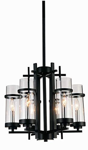 6 Light Up Chandelier with Black Finish (Light Six Sierra Chandelier)