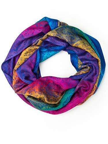 Iris Rainbow Pashmina, Silk and Wool Indian Paisley Traditional Jacquard Brocade Scarf or Shawl (Rainbow/Blue INF, Infinity) - Scarf Silk Brocade
