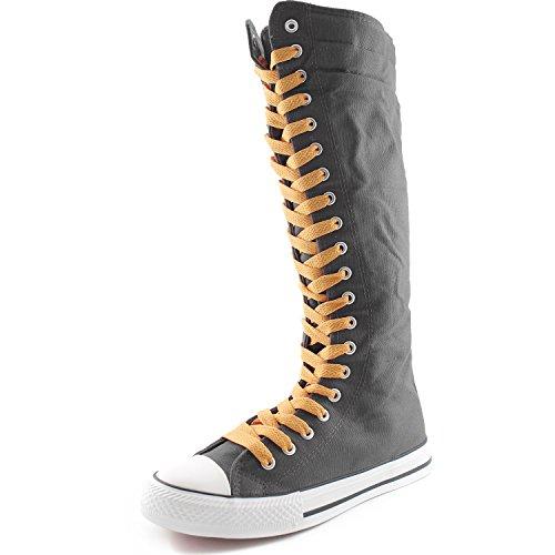 Dailyshoes Toile Femme Mi-mollet Bottes Hautes Casual Sneaker Punk Plat, Moutarde Jaune Bottes Grises, Dentelle Jaune Moutarde