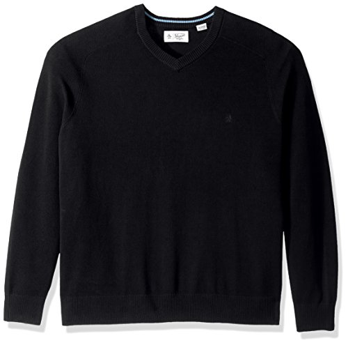 Original Penguin Men's Big Honeycomb V-Neck Sweater, True Black, 2 XL-Extra Large/Tall Tall Penguins