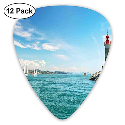 (Guitar Picks 12-Pack,Day By The Seaside Sailboats Lighthouse Rocks Clear Sea Clouds Island Seascape)