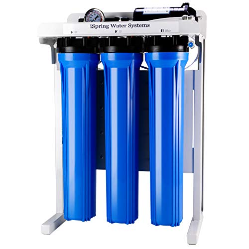 iSpring RCB3P 300 GPD Commercial Grade Reverse Osmosis Water System W/Booster Pump and Oversized Pre Ro Filters, Blue