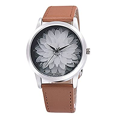 Amazon.com: Womens Men Casual watches Canvas Leather Analog Quartz Watch Lotus Fashion Watch,GINELO (Red): Cell Phones & Accessories