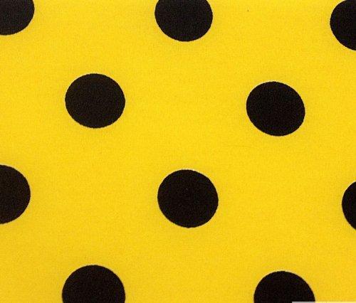 Yellow Polka Dot Fabric - 3/4th Inch Polka Dot Poly Cotton Black Dot on Yellow 60 Inch Fabric by the Yard (F.E.)