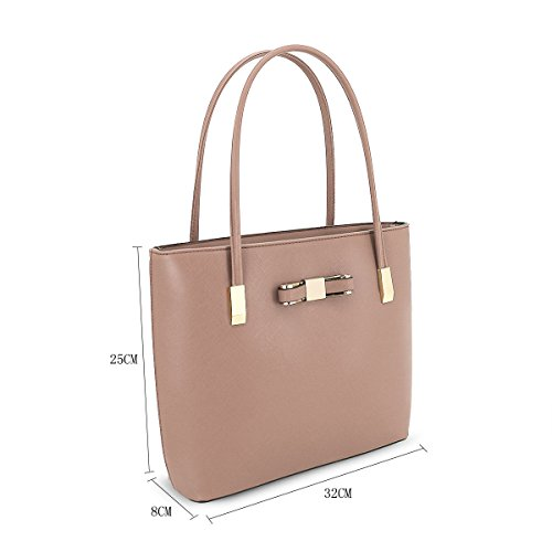 Faux Bow Dark Messenger Tote J48 Handle Detail Bag Beige Leather Ladies Shoulder Womens Fashion Top 10nxO55z
