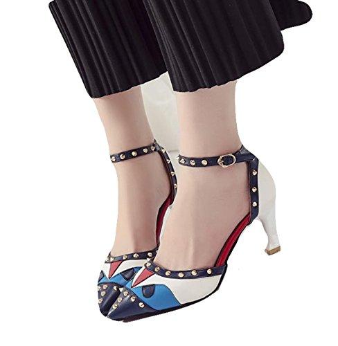e9264782b5bbac Ein bißchen 2018 Damen Mode beliebet Knöchelriemchen Schuhe Bunte mit Niete  Business Arbeitschuhe Blau ...