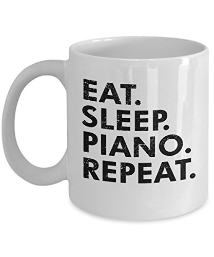 PLG - Eat Sleep Piano Repeat Mug - Funny Unique Coffee Mugs 11 Oz White Black Ceramic Cup Quote From T-shirts Tee Shirt Novelty Gifts - Inspirational And Sarcasm Musical Music Note Keys Jazz Song