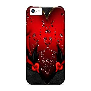 Premium Tpu Red Heart On Black Silk Cover Skin For Iphone 5c