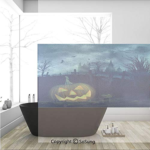3D Decorative Privacy Window Films,Halloween Pumpkin in Spooky Graveyard Eerie Gloomy Stormy Atmosphere,No-Glue Self Static Cling Glass Film for Home Bedroom Bathroom Kitchen Office 36x24 Inch]()