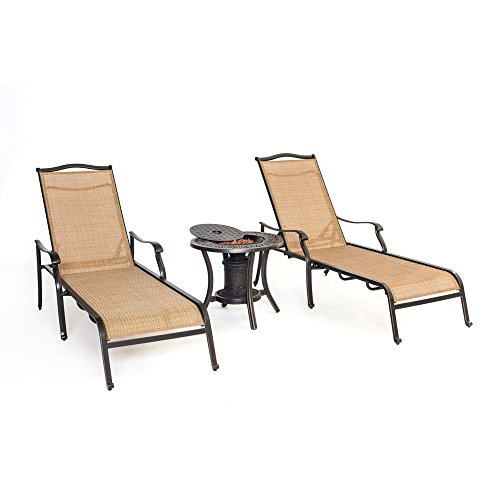 Hanover MONCHS3PC-URN Monaco Chaise Lounge Chairs and One Fire Urn (Set of 2) (Inch 4 Rock Lava 1)