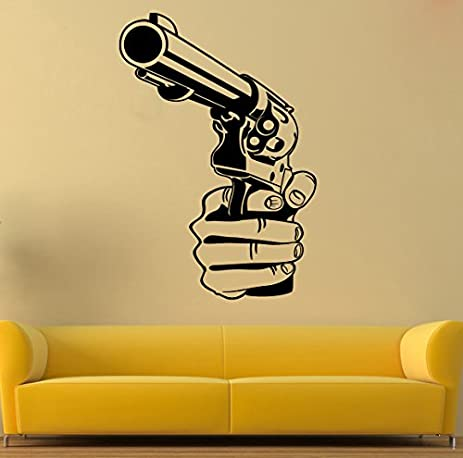 Gun Wall Vinyl Decal Revolver Wall Vinyl Sticker Weapon Decals Wall ...
