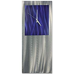Metal Art Studio Blue Studio Clock Original Metal Wall Decor, Blue Color Face