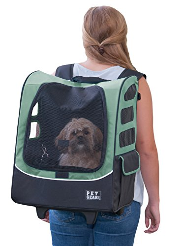 Pet Gear I-GO2 Plus Traveler Rolling Backpack Carrier for Small Cats and Dogs, Sage  Measures 16 x 13.5 x 22 inches