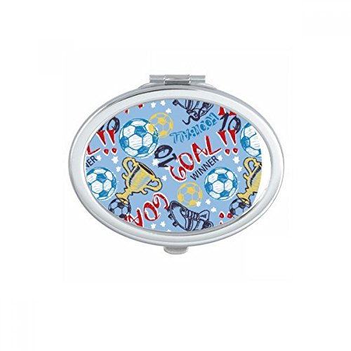 Goal Soccer Football Sports Winner Oval Compact Makeup Pocket Mirror Portable Cute Small Hand Mirrors Gift by DIYthinker