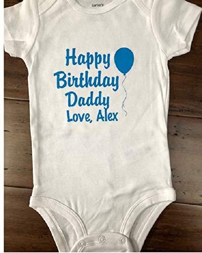 Amazon Happy Birthday Daddy Personalized Baby One Piece Custom Bodysuit Handmade