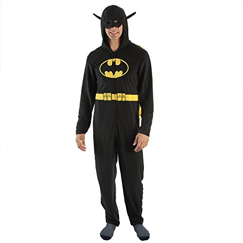 DC Comics Batman Mask Hood Adult Caped Costume Union Suit (Black, XX-Large)