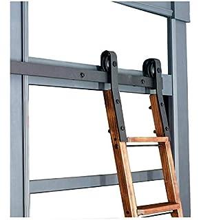 DIYHD 12FT Sliding Hardware Rustic Black Rolling Library TrackNo Ladder Kit