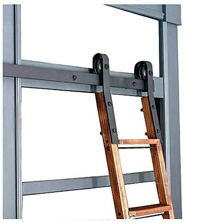 DIYHD 10FT Sliding Track Black Rolling Library HardwareNo Ladder Kit Rustic