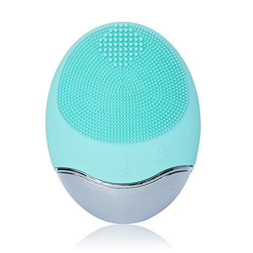 Sonic Facial Cleansing Brush, Soft Silicone Waterproof Face Cleanser Bamboo Charcoal Wireless Charging Travel Size Massager for Skin Exfoliation, Deep Cleansing, Anti Aging - Green (Best Sonic Face Cleanser)