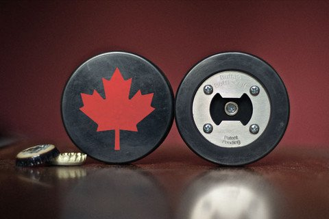 Canadian Maple Leaf Bottle Opener, Made from a real Hockey Puck (Best Gifts From Canada)