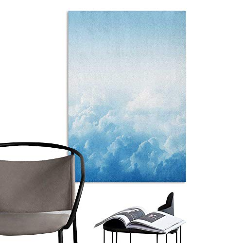 (Scenery Wall Sticker Clouds Fluffy Clouds High Above Ground Mass of Condensed Water Vapor Floating Dream Image Blue White Men's Room Wall W32 x)