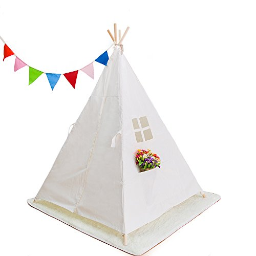 COMUSTER Kid's Foldable Teepee Play Tent, Classic Indian Play Tent for Kids with Four Wood Poles,White