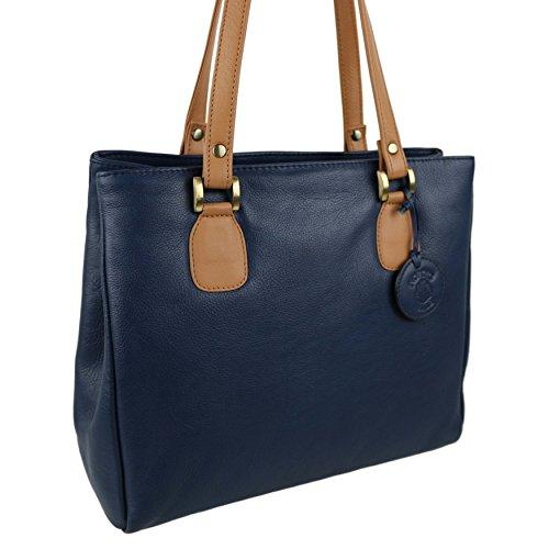Soft a due tonalità, da donna, in pelle, per mano Nordic Blue; Hansson Borsa, colore: blu Navy