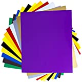 SanRaj - 20 Sheets-Upgraded 100% stick-Heat Transfer Vinyl Set, Assorted Colors HTV Vinyl Sheets to Iron On Vinyl for Cricut & Silhouette Cameo & Heat Press Machine EasyWeed for TShirts–10 x 12 Inches