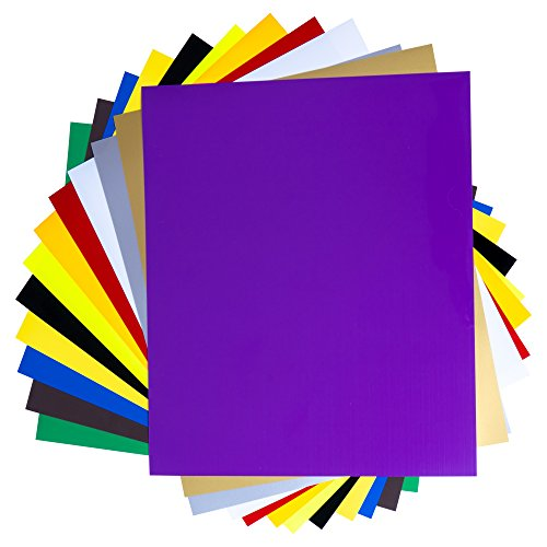 SanRaj - 20 Sheets-Upgraded 100% stick-Heat Transfer Vinyl Set, Assorted Colors HTV Vinyl Sheets to Iron On Vinyl for Cricut & Silhouette Cameo & Heat Press Machine for TShirts-10 x 12 Inches ()