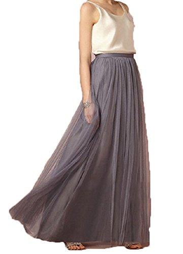 PROMLINK Floor Length Tulle Tutu Skirts High Waist Princess Party (Pleated Silk Like Satin)