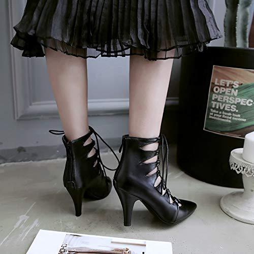 Lacets Mode Ajourer Eclair Femme 8 Aisun Noir Sandales Avec Salon Fermeture 5cm Bottines UqPwB