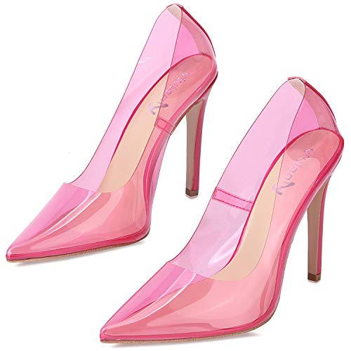 Fuchsia High Heel - vivianly Fashion High Heel Pointed Toe Clear Pumps Heels Slip on Dress Shoes for Women Fuchsia