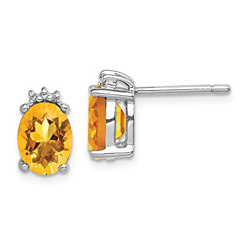 925 Sterling Silver Oval Yellow Citrine Diamond Post Stud Earrings Ball Button Fine Jewelry Gifts For Women For Her