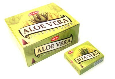 Aloe Vera - Case of 12 Boxes, 10 Cones Each - HEM Incense From India