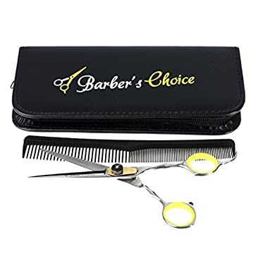 Barber's Choice Professional Hair Shears / Barber Scissors - 6.5 Inches Long, 420 Japanese Stainless Steel with Adjustment Tension Screw - Includes a Premium Carrying Case & Matching Comb