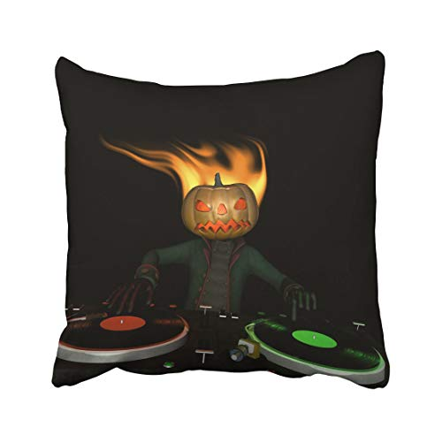 Emvency Flaming Pumpkin Head is in The House and Mixing Up Some Halloween Horror Turntables with Vinyl Albums Throw Pillow Covers 20x20 Inch Decorative Cover Pillowcase Cases Case Two Side