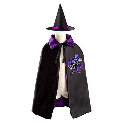 Veigar Halloween Costumes Witch Wizard Reversible Cloak With Hat Kids Boys Girls (Teemo Halloween Costume)