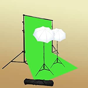 ePhoto T69green/bag Continuous Lighting Green Screen Studio Kit with Carrying Bag with 6x9 Feet Chroma key Green Screen, 2 7 Foot Light Stands with 45W 5500k Bulbs and 2 32-Inch White Umbrellas