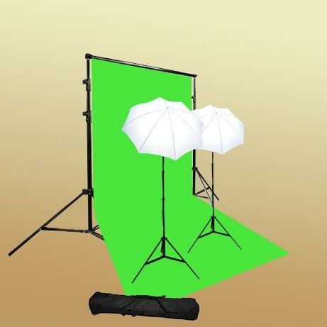 ePhoto T69green/bag Continuous Lighting Green Screen Studio Kit with Carrying Bag with 6x9 Feet Chroma key Green Screen, 2 7 Foot Light Stands with 45W 5500k Bulbs and 2 32-Inch White Umbrellas by ePhoto