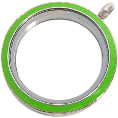 Green Enamel Big Round Stainless Steel Locket for Floating Charms