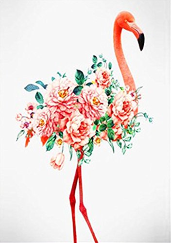 Wowdecor Paint by Numbers Kits for Adults Kids, DIY Number Painting - Pink Flowers Flamingo Bird 30 x 45 cm - New Stamped Canvas (Framed)