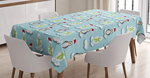 Ambesonne Funny Tablecloth, Cute Penguins and Snowmans on Ice Floes Antarctica Cartoon Caps Scarfs Funny Pattern, Dining Room Kitchen Rectangular Table Cover, 60 W X 84 L Inches, Pale - Ice Floe Penguin