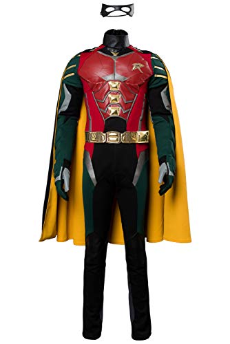 COSMOVIE Halloween Robin Costume for Teen Men's Titans Cosplay Grayson Full Set Costumes]()