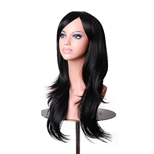 Wigood Black Long Curly Hair With Air Bangs Cosplay Wig with Free Wig Cap for Women